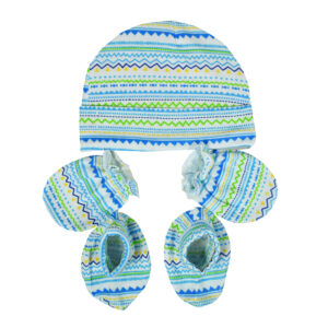 Montaly Baby Caps, Mittens & Booties (0-6M) - Sky Blue-0