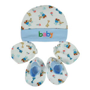 Montaly New Born Baby Caps, Mittens & Booties Set (0-6M) - Sky Blue-0