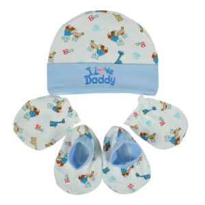 Montaly New Born Baby Caps, Mittens & Booties Set (0-6M)-0