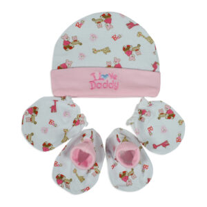Montaly New Born Baby Caps, Mittens & Booties Set (0-6M)-Pink-0