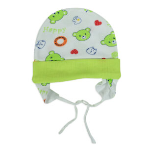 New Born Ear Cover Tie Knot Cap Printed - Green-0