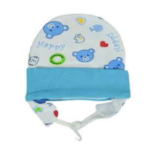 New Born Ear Cover Tie Knot Cap Printed - Sky Blue-0