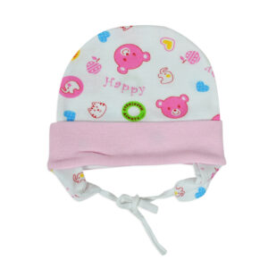 New Born Ear Cover Tie Knot Cap Printed-0