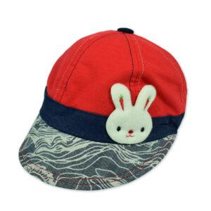 Kids Bunny Applique Unisex Summer Caps - Red-0