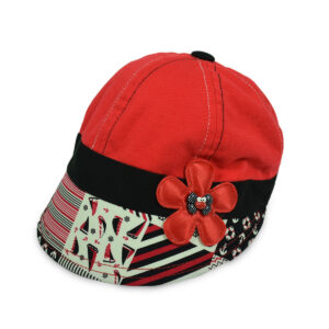 Flower Patch Girls Summer Caps - Red-0