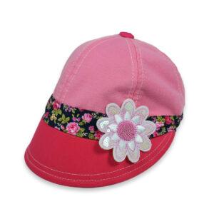 Flower Patch Girls Summer Cap - Pink/Peach-0