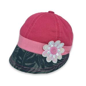Flower Patch Girls Summer Caps - Pink/Grey-0