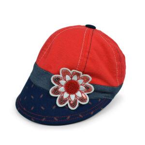 Flower Patch Girls Summer Caps - Red/Blue-0