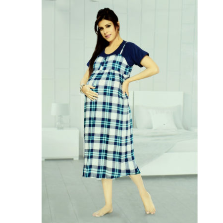 Short Sleeves Maternity Feeding Gown (Nighty) - Blue/White-0