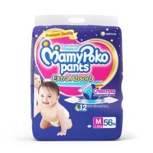 Mamy Poko Medium Size Baby Diapers (56 count)-0