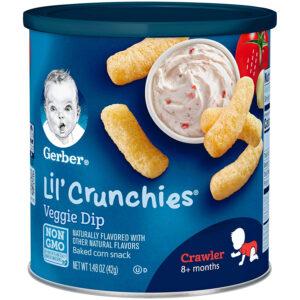 Gerber Lil Crunchies Baked Corn Snack Veggie Dip (8M+) - 42gm-0