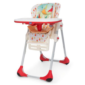 Chicco Polly 2 In 1 High Chair Timeless - Red And White-0