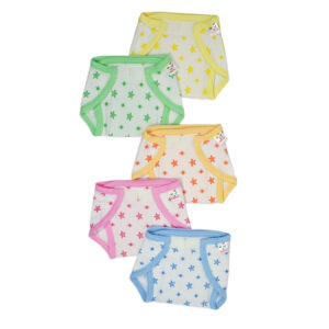 Tinycare Multicolor Printed Velcro Nappy - Pack of 5-0
