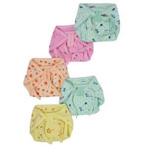 Printed Knotted Cotton Nappy Pack Of 5 (S) 1-3M - Multicolor-0