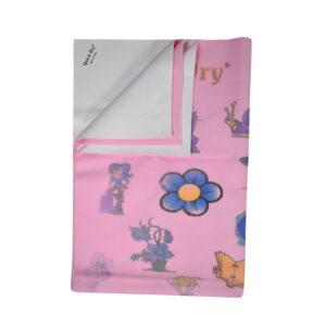 Quick Dry Printed Waterproof Bed Protector Sheet - Pink - Medium-0