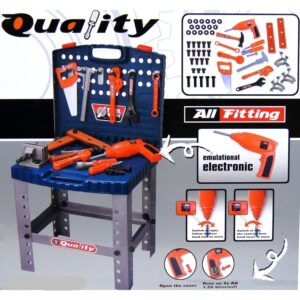69 Piece Toy Tool Kit Play Set Portable Folding Work Bench Workshop with Drill-0
