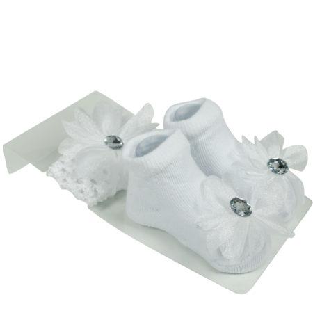 Baby Girls Socks with Hair Band - White-0