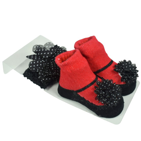 Baby Girls Socks with Hair Band - Red/Black-0