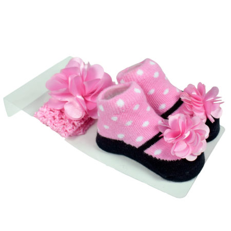 Baby Girls Socks with Hair Band - Pink/Black-0