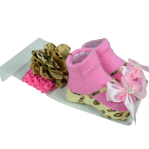 Baby Girls Socks with Hair Band - Pink/Brown-0