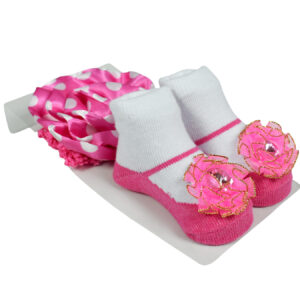 Baby Girls Socks with Hair Band - Pink/White-0