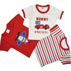 Baby Starters Half Sleeves T-shirt Pack of 3 - Red Base-0