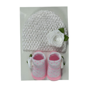 Baby Socks with Crochet Cap - White/Pink-0