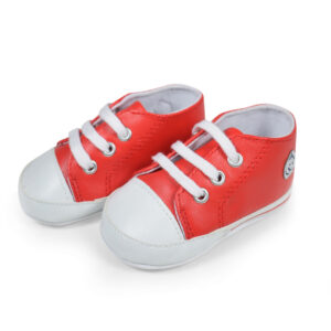 Baby Soft Canvas Shoes/Booties - Red/White-0