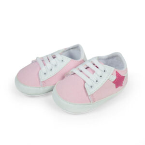 Baby Girl Lace-up Soft Shoes - White/Pink-0