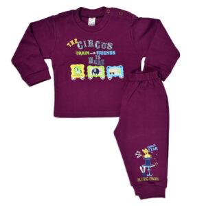 Zero Full Sleeves Rib Vest & Pant (Set) - Purple-0