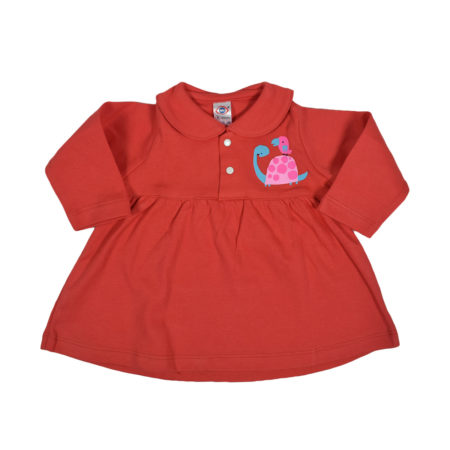 Zero Full Sleeve Cotton Frock - Red-0