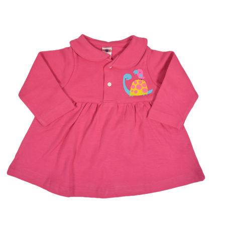 Zero Full Sleeve Cotton Frock - Pink-0