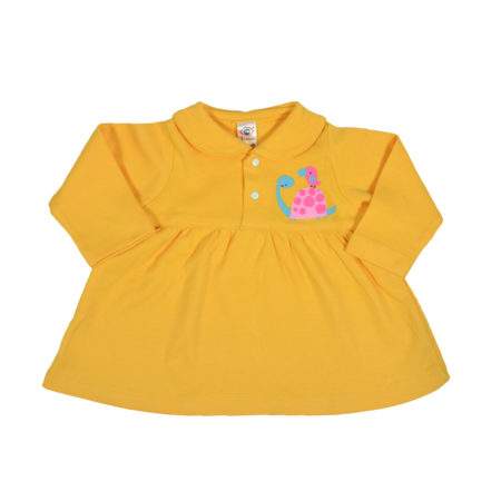 Zero Full Sleeve Cotton Frock - Yellow-0