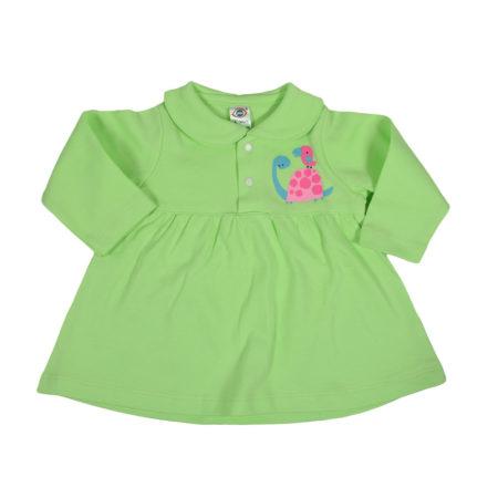 Zero Full Sleeve Cotton Frock - Green-0
