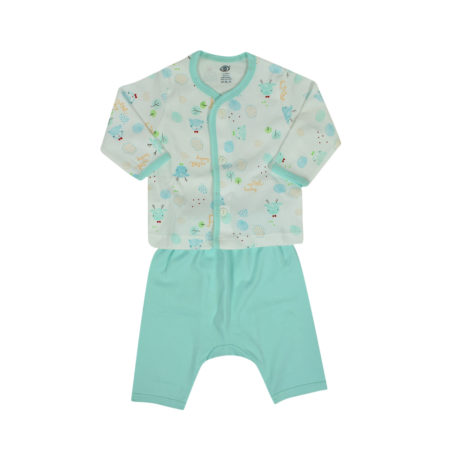Zero Front Open Vest With Diaper Legging Set - Aqua-0