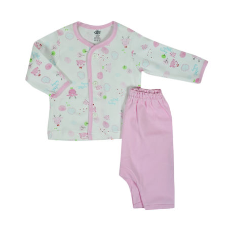 Zero Front Open Vest With Diaper Legging Set - Pink-0