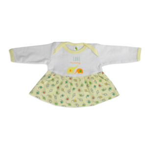 Cucumber Full Sleeves Cotton Frock - Yellow-0