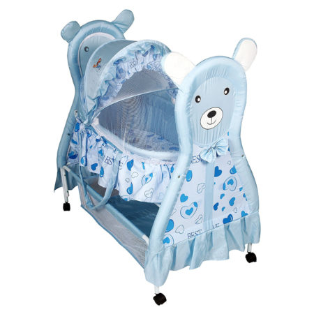 Sunbaby Cudly Bear Bassinet - Blue -0