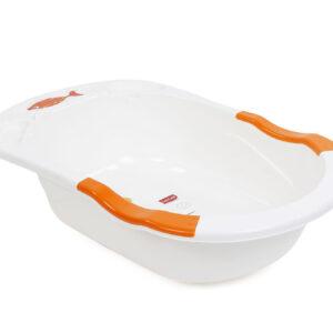 LuvLap Baby Anti Slip Bathtub Cartoon Print- Orange White-0