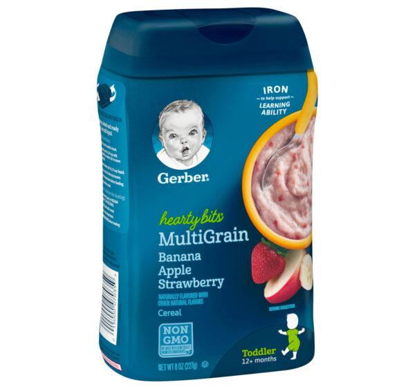 Gerber Hearty Bits Multigrain Banana Apple Strawberry Baby Cereal (12M+) - 227 gm NON GMO-0