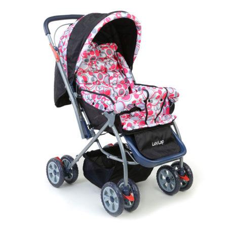 LuvLap StarShine Baby Stroller Cum Pram (18140) - Pink/Black-0