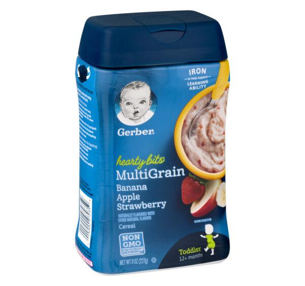 Gerber Hearty Bits Multigrain Banana Apple Strawberry Baby Cereal (12M+) - 227 gm NON GMO-21118