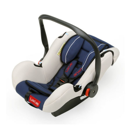 LuvLap Infant Baby Car Seat Cum Carry Cot With Rocker And Canopy - Dark Blue-0