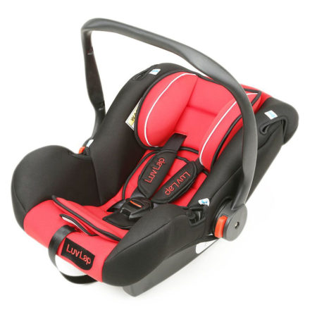 LuvLap Infant Baby Car Seat Cum Carry Cot With Rocker And Canopy (18163) - Red-0