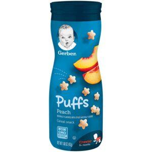 Gerber Graduates Puffs Cereal Snack - Peach (8M+) - 42 gm -0