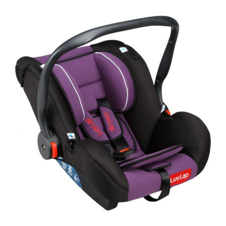 LuvLap Infant Baby Car Seat Cum Carry Cot With Rocker And Canopy (18216) - Purple-0