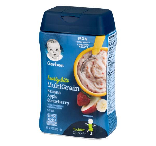 Gerber Hearty Bits Multigrain Banana Apple Strawberry Baby Cereal (12M+) - 227 gm NON GMO-21116
