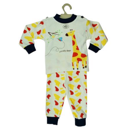 Giraffe Print Full Sleeve Night Suite - Yellow/White-0