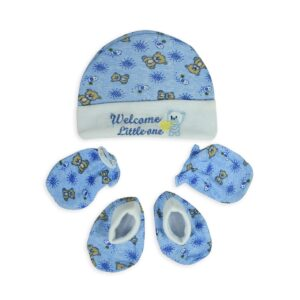 Montaly Baby Caps, Mittens & Booties (0-6M) - Blue-0