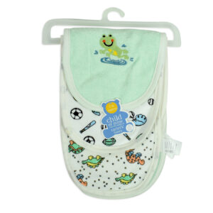 Carters Cotton Burp Cloth Pack Of 3 - Green/White-0